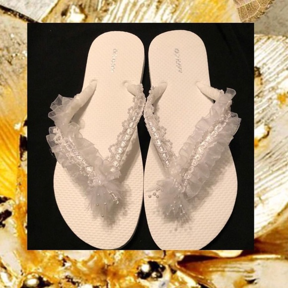 683627bb7 Embellished Wedding Flip Flops